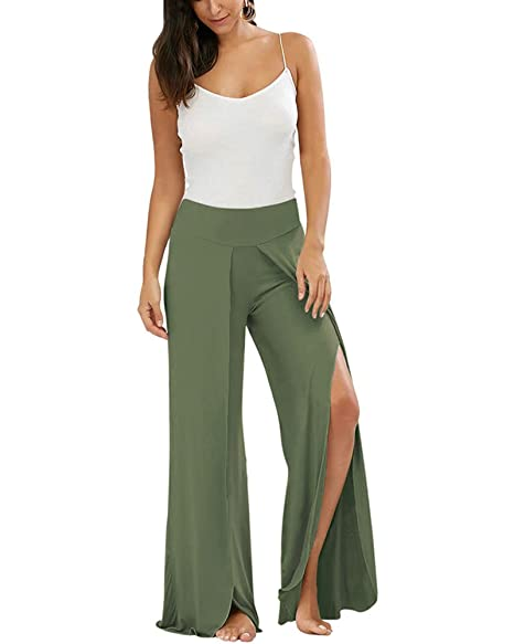 e0d1f623bf4e06 Gamery Women's Casual Wide Leg Slit Loose Palazzo Yoga Fitness Sports Pants  Trousers Army Green Small