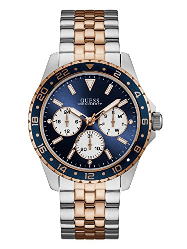 GUESS  Stainless Steel + Rose Gold-Tone Blue Bracelet Watch with Day, Date + 24 Hour Military/Int'l Time. Color: Silver + Rose Gold-Tone (Model: ()