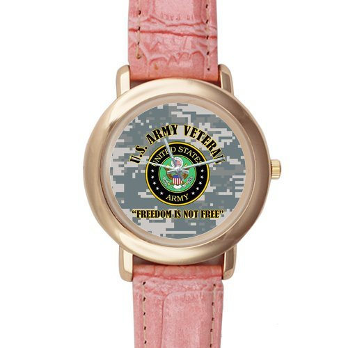 Gifts for girls or ladies US Army Veteran and Freedom is not Free Pink Leather Alloy High-grade Watch by US Army Watch (Image #1)