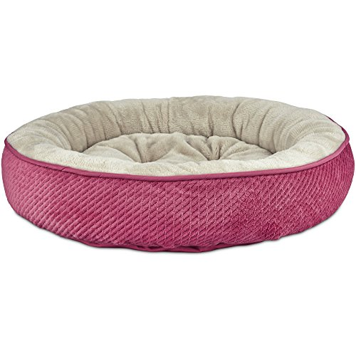 Cheap Harmony Textured Round Cat Bed in Pink, 20″ L x 20″ W