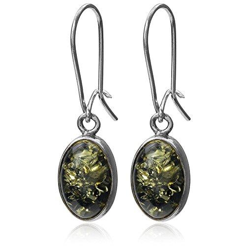 Green Amber Sterling Silver Oval Earwire ()