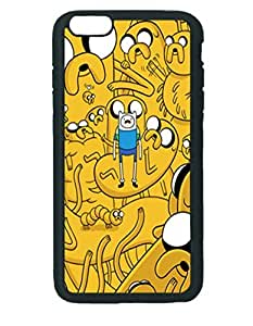 Adventure Time Finn With Jakes Case ~ iPhone 6 Plus Rubber Tpu Case ~ Silicone Patterned Protective Skin Rubber Case Cover for Apple iPhone 6 Plus with 5.5 inch - Haxlly Designs- Black Case
