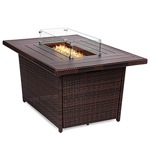 Best Choice Products 52in Outdoor Wicker Propane Gas Fire Pit Table for Patio, 50,000 BTU w/Aluminum Tabletop, Glass Wind Guard, Clear Glass Rocks, Cover, Slide Out Tank Holder, Lid - Brown (Propane Tables Pit Fire)