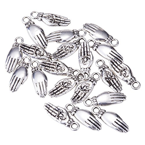 PandaHall Elite Brass Palm with Lotus Pendants Antique Silver 18x7x3mm about - Springs Palm Department Stores
