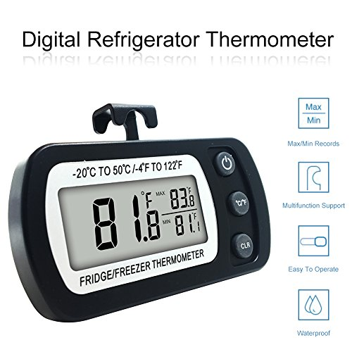 Digital Refrigerator Thermometer, FlatLED Waterproof Freezer Thermometer, Mini Fridge Freezer, with Hook, Max/Min Function, LCD Display, Perfect for Kitchen, Restaurants, Bars, Cafes (Black)