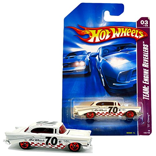 Hot Wheels Year 2006 Engine Revealers Series 1:64 Scale Die Cast Car Set #155 - White Classic Coupe California '57 CHEVY Bel Air (3/4) M6869 with Red Checker Deco (Bel Air 57 Car Classic)
