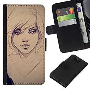 Planetar® Modelo colorido cuero carpeta tirón caso cubierta piel Holster Funda protección Samsung ALPHA G850 ( Sexy Girl Drawing Sketch Art Eyes Portrait )