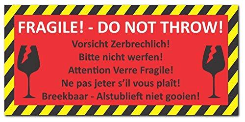 24 Stück Aufkleber Vorsicht Zerbrechlich Din Lang 210 X