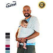 Striped Grey Baby Sling Carrier Wrap by Cozitot | Soft & Stretchy Baby Wrap | Baby Sling Carrier | Small to Plus Size Baby Sling | Nursing Cover | Best Baby Shower Gift
