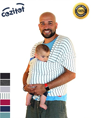 Cheapest Prices! Striped Grey Baby Sling Carrier Wrap by Cozitot | Soft & Stretchy Baby Wrap | Baby ...
