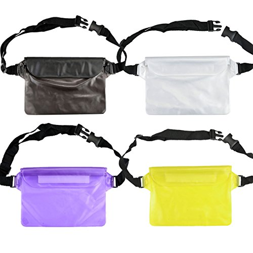 FALETO 4-Packs Waterproof Fanny Pack Phone Pouch Bag Underwater Floatable Case for Beach, Swimming, Fishing,Boating, Diving,Kayaking, Hiking