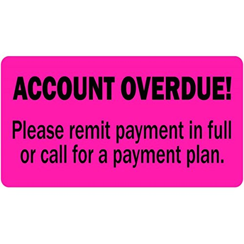 """Account Overdue Billing and Collections Label Fluorescent Pink 2""""x 1"""" - 500 Labels Per roll"""