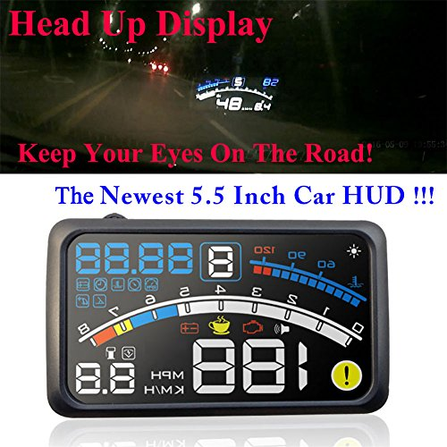 5.5 inch OBDII Car Windshield HUD Head Up Display, OBD2 II/EUOBD car HUD Head Up Display with Over speed Warning System, Projector Windshield Auto Electronic Voltage Alarm, Bracket (blue) by blue--net (Image #2)'