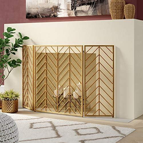 暖炉スクリーン ホームリビングルームのための3パネルゴールド折り畳み式暖炉スクリーン - 強力な錬鉄スパークガードフレーム - 屋内/屋外での使用