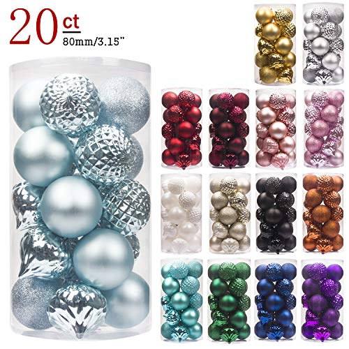 KI Store 20ct Christmas Ball Ornaments Shatterproof Christmas Decorations Large Tree Balls for Holiday Wedding Party Decoration, Tree Ornaments Hooks Included 3.15 (80mm Baby Blue)