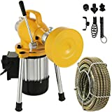 Mophorn 3/4'-4' Sectional Pipe Drain Cleaning Machine 400PRM Snake Cleaner Pipe Drain Cleaning Machine with 66' x 2/3'' Galvanize Cable Heavy Duty (Yellow Color)