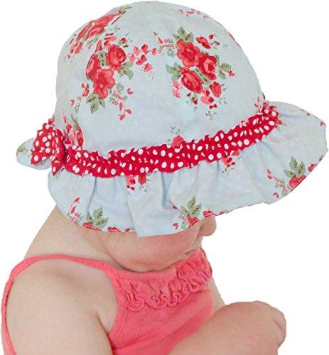 (Huggalugs Baby & Toddler Girls Rose Reversible Ruffled Sunhat 6-12)