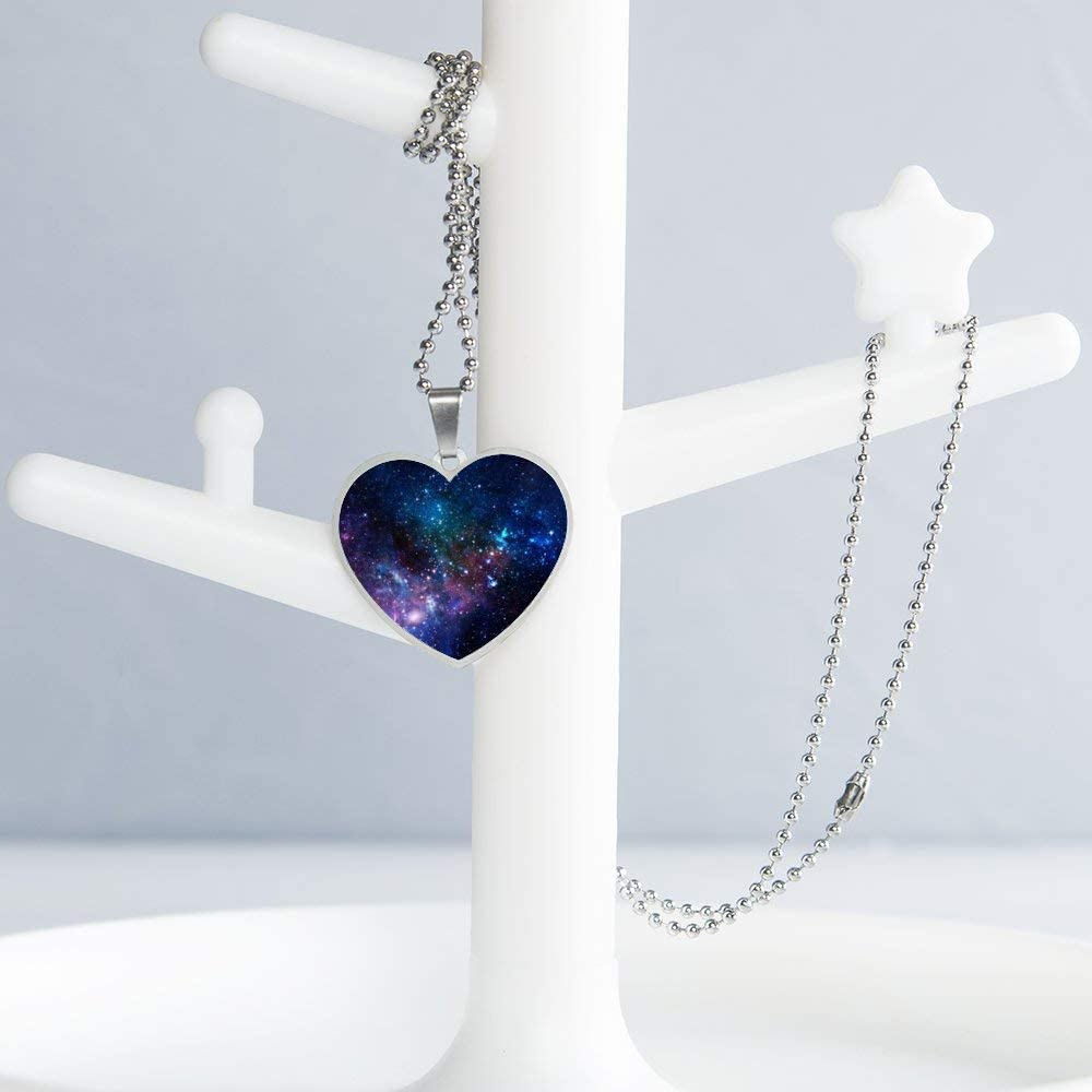 Universe Galaxy Necklace Personalized Engraved Heart Custom Gift Pendant-Valentines Day Love