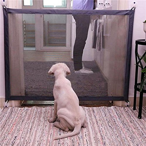 Magic Gate for Dogs - Portable Folding Mesh Screen Gate - for House Indoor Use - Dog Safe Guard Install Anywhere - As Seen On TV by Infina (Image #5)