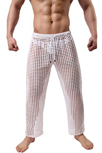 Men's Sexy Mesh Hollow Openwork Drawstring Lounge Long Pants Pajamas Bottoms (US M/Asian Tag L, White)