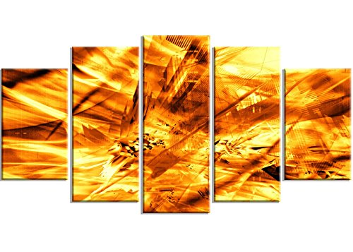 "picture of Designart Yellow S &Storm Metal Wall Art - MT3""8"" - 6""x32 - 5 Panels"