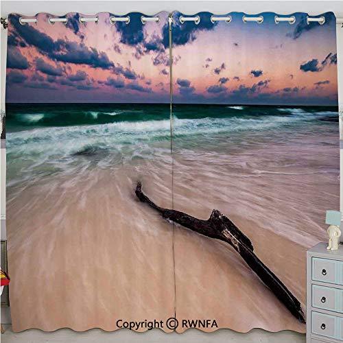 - Justin Harve window Seascape Theme Driftwood on Deserted Beach at Sunset Digital Image Bedroom Blackout Curtains Set of 2 Panels(100
