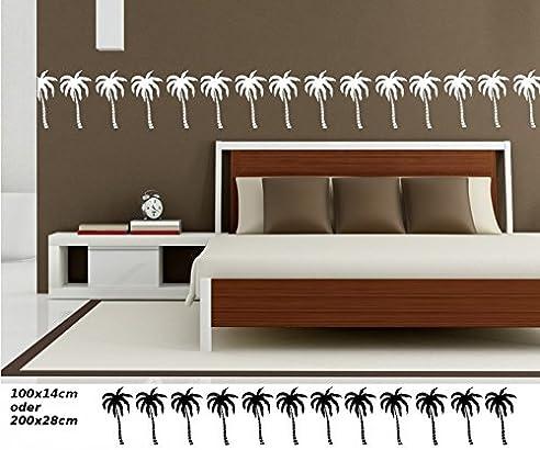 Wandtattoo Selbstklebend Bordüre Palme Palmen Afrika Landschaft Set  Kinderzimmer Banner Aufkleber Wohnzimmer 1U325, Farbe: