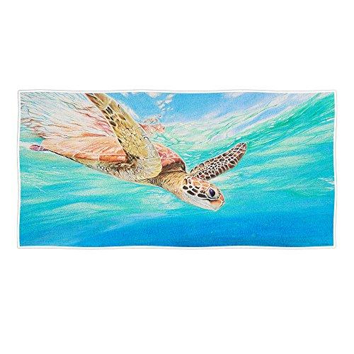 Redland Art Summer Marine Animals Theme Sea Turtle Beach Towel 30x58 Inches(76x147Cm) Sea Blue