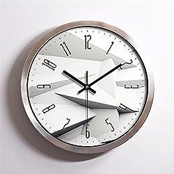 EXDJ 12 stainless steel Round Wall Clock Creative Fashion Quartz Clock Bedroom Living Room Simple Digital Clock,Silver