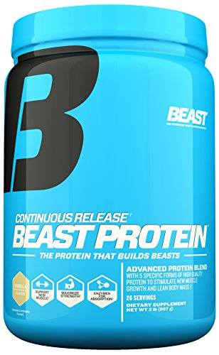 Beast Protein 25 Grams of Protein Per Serving. High-Quality Protein with 5 Protein Sources for Lean Muscle including Whey Concentrate and Isolate. Low Fat Low Carbs. 2 lbs, 26 Servings, Vanilla