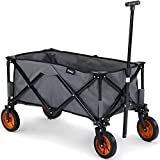 VonHaus Folding Camping Cart with Lining - 4 Wheeled Collapsible Festival Trolley, Portable Garden & DIY Waste Wagon – 70KG Capacity