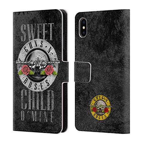Official Guns N' Roses Sweet Child O' Mine Vintage Leather Book Wallet Case Cover for iPhone Xs Max]()