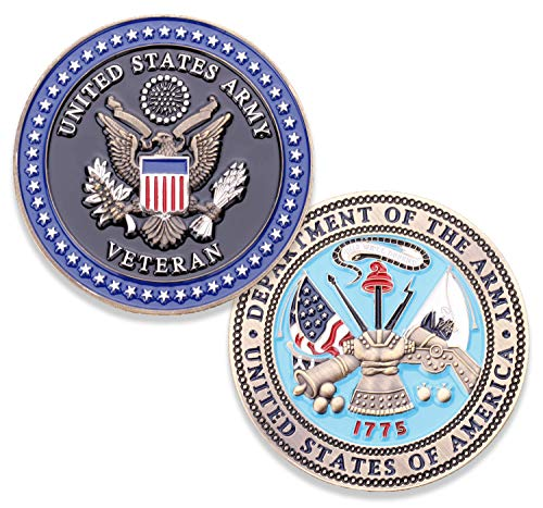 Army Veteran Challenge Coin - US Army Military Collectible Challenge Coin - Officially Licensed & Designed by U.S. Military Veterans