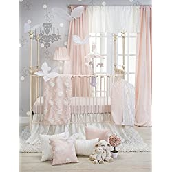 Crib Bedding Set Lil Princess by Glenna Jean | Baby Girl Nursery + Hand Crafted with Premium Quality Fabrics | Includes Quilt, Sheet and Bed Skirt with Pink and Ivory Accents