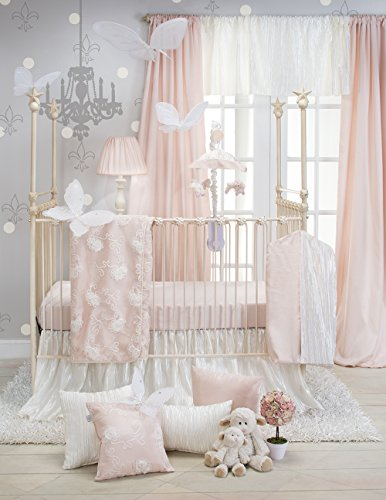Crib Bedding Set Lil Princess by Glenna Jean | Baby Girl Nursery + Hand Crafted with Premium Quality Fabrics | Includes Quilt, Sheet and Bed Skirt with Pink and Ivory Accents - Antique White Crib