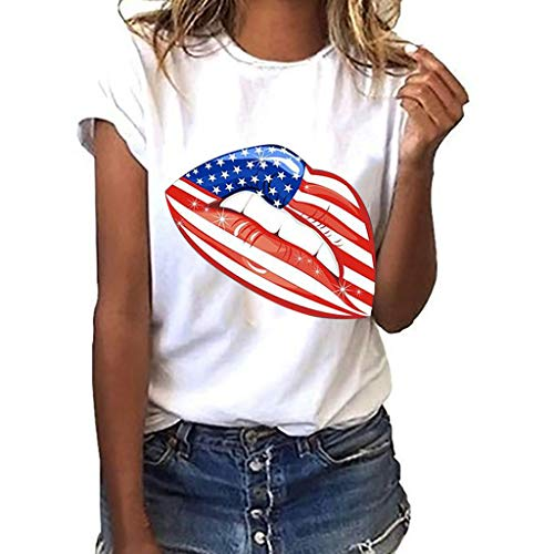 TWinmar -Women Plus Size Summer Independence Day Funny Lips Print Short Sleeve T-Shirt Round Neck Blouse Tops Girls (White,M)