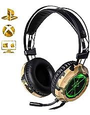 Cuffie Gaming per PS4, XTRIKE Cuffie Gaming con microfono Illuminazione a LED Cuffie da Gioco Cancellazione del Rumore
