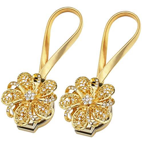 TRIXES 2PC Gold Flower Magnetic Curtain Tie Backs - Diamante Detailing