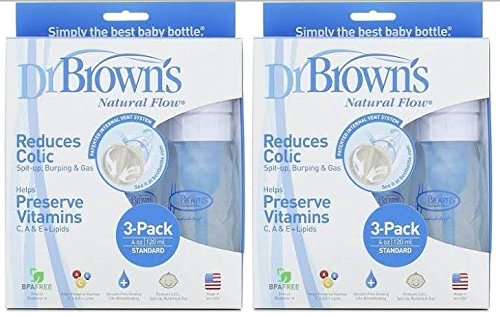 Dr. Browns BPA Free Polypropylene Natural Flow Standard Neck Bottle, 4 oz - 6 Count by Dr. Brown's   B00XI0P1AI