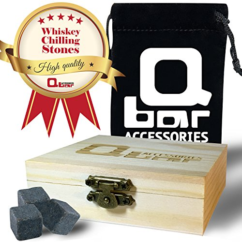 Q bar Accessories Whiskey Stones - Gift box w' 9 black Basalt Cube Chilling Rocks - Velvet Storage Pouch - Liquor and Wine Cooler - No More Taste Of Water - Premium Wooden Box - Free Ebook Bonus - Costume Design Colleges In India