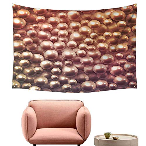 Agoza Big Tapestry Pearls Various Size Mixed Rare Nacreous Pearls Gemstone Oyster Concept Golden Ombre Pattern Wall Tapestry for Bedroom 60