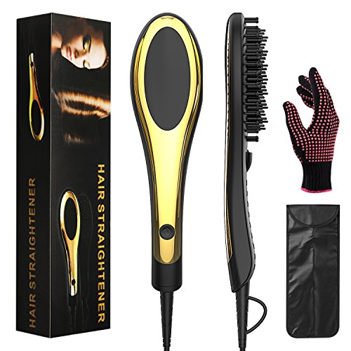 Stylish Brush - Hair Straightener Brush: Curly/Natural Hair Straightening Brush For Women, For All Hair Types and Lengths-Non Damage Ceramic Plates with Anti-Scald Feature-Adjustable Temperature (H2)