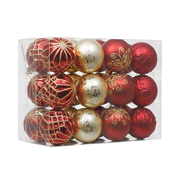 Valery Madelyn Palle di Natale 24 Pezzi 6cm Palline di Natale, Ornamenti di Palla di Natale Infrangibili di Lusso Rosso e Oro per la Decorazione Dell'Albero di Natale 1 spesavip