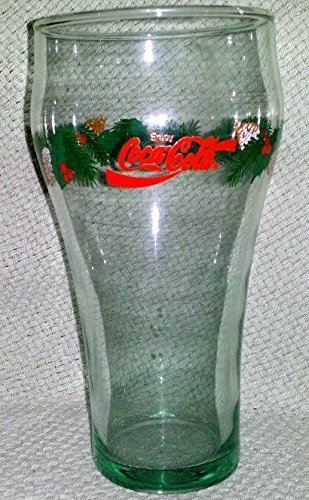 Pinecone Tableware - Vintage Coca-Cola 16oz with Christmas Holly and Pine Cones Image on the Glass with Red Lettering