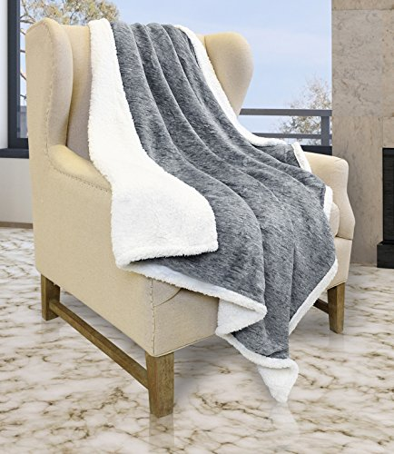 "Tirrinia Sherpa Throw Blanket Snow 50"" x 60"", Super Soft Mic"