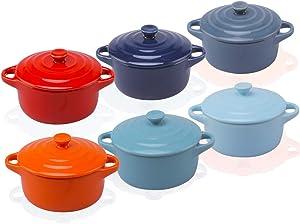 RnMgg Ceramic Ramekins for Baking, 7 Ounces Mini Casserole with Lid, Souffle Dish, Set of 6, Red Orange Blue