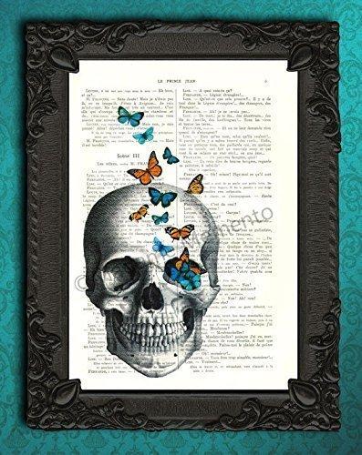 Human skull with butterflies wall art, spooky orange blue butterfly artwork