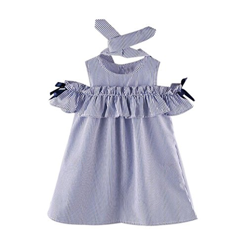 Alalaso Toddler Kids Baby Girl Outfit Clothes Strapless Blue Stripe Dress+Headband Set (15) by Alalaso