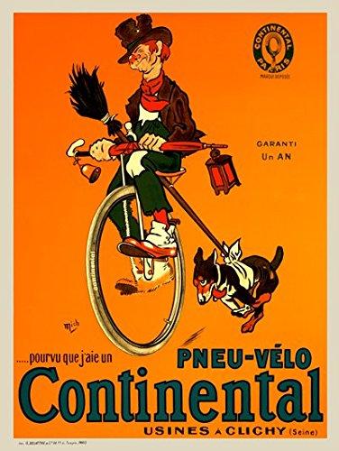 pneu-velo Continental Fineアートヴィンテージ自転車ポスター印刷 24 x 36 inches 1176 B01GU7VUXW 24 x 36 inches  24 x 36 inches
