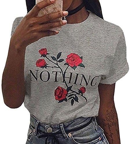 T Estate Minetom Corta N Maglietta shirt Donna Ragazze Manica Raccolto Sciolto Stampa Camicie Rose Grigio Tops 4wqEzUq